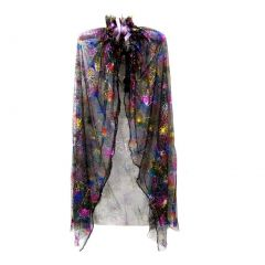 Little Girls Black Rainbow Spiderweb Print Halloween Cape 2-7