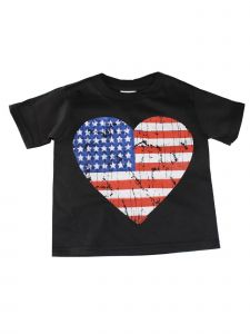 Unisex Little Kids Black Red Blue American Flag Heart Print T-Shirt 2T-5