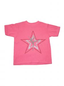 Little Girls Pink Star Dancer Print Short Sleeved Cotton Trendy T-Shirt 2-5T