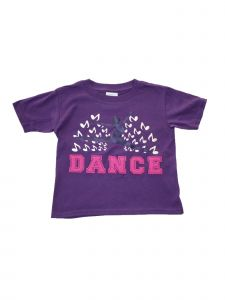 "Little Girls Purple ""Dance"" Music Inspired Short Sleeve Cotton T-Shirt 2-4T"