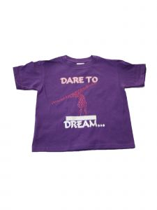 "Girls Purple ""Dare To Dream"" Short Sleeve Cotton Trendy T-Shirt 6-16"