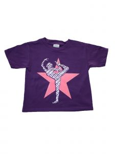 Little Girls Purple Star Gymnastics Short Sleeve Cotton Trendy T-Shirt 2-5T