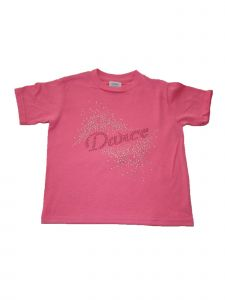 Little Girls Pink Glitter Dance Explosion Cotton Short Sleeve T-Shirt 2-5T