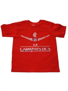 Little Girls Red Gymnastics Glitter Stud Cotton Short Sleeve T-Shirt 2-5T