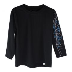 Girls Black Blue Star Figure Skating Long Sleeve Cotton T-Shirt 6-16