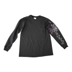 Girls Black Sequined Figure Skating Flower Long Sleeve Cotton T-Shirt 6-16