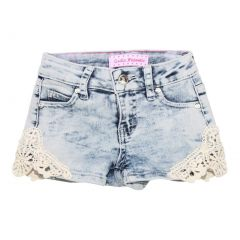 Little Girls Light Blue Washed Denim Lace Trimmed Trendy Casual Shorts 4-6X