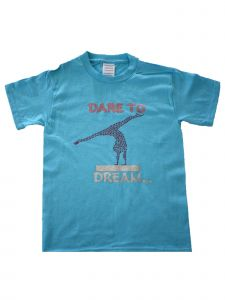 "Girls Blue ""Dare To Dream"" Print Short Sleeve Cotton Trendy T-Shirt 6-16"