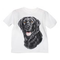 Unisex Little Kids White Black Labrador Graphic Print Short Sleeve T-Shirt 2-5T