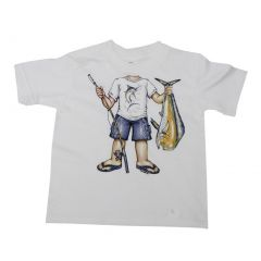 Big Kids Unisex White Fisher Boy Print Short Sleeve T-Shirt 6-16