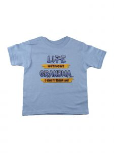 "Unisex Blue ""Life Without Grandma"" Print Short Sleeved Cotton T-Shirt 6-16"