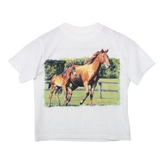 Big Girls White Mare And Colt Running Short Sleeved Cotton T-Shirt YS-YXL
