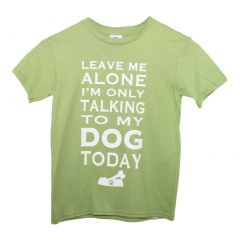 "Girls Green White ""Leave Me Alone"" Print Short Sleeve Cotton T-Shirt 6-16"