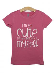 "Girls Pink ""I'm So Cute"" St. Valentine's Theme Print Cotton T-Shirt 6-16"