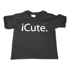 "Unisex Little Kids Black ""iCute"" Letter Print Short Sleeve Cotton T-Shirt 2T-5"