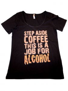 "Women's Black ""Step Aside Coffee"" Print Short Sleeved Cotton T-Shirt S-XXL"