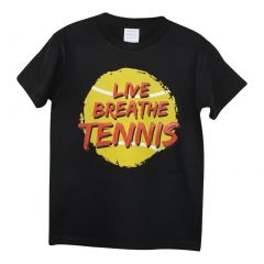 "Unisex Black ""Live Breath Tennis"" Print Cotton Short Sleeve T-Shirt 6-16"