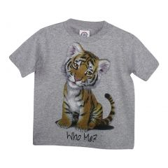 "Unisex Grey ""Who Me?"" Tiger Print Short Sleeve Cotton T-Shirt 6-16"