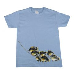 Girls Sky Blue Stinger of Bluegill Print Cotton Short Sleeve T-Shirt 6-16