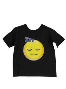 Unisex Black Yellow Sleeping Face Emoji Print Cotton Trendy T-Shirt 6-16