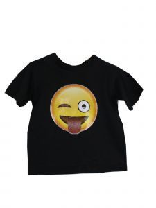 Unisex Little Kids Black Yellow Tongue Out Emoji Print Cotton T-Shirt 3T