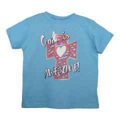 "Unisex Blue ""God Is Awesome"" Print Short Sleeve Cotton T-Shirt 6-16"