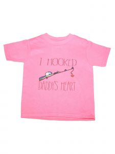 "Girls Pink ""I Hooked Daddy's Heart"" Print Short Sleeve Cotton T-Shirt 6-16"