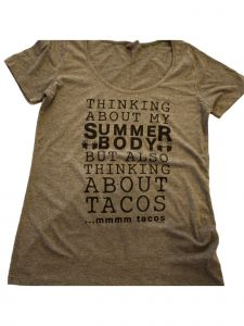 "Women's Gray ""Thinking About My Summer Body"" Short Sleeve Cotton T-Shirt S-XXL"