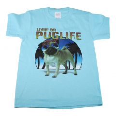 Big Kids Unisex Blue Living The Pug Life Print Short Sleeve T-Shirt 6-16