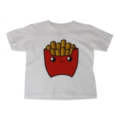 Unisex White Kiddie French Fries Print Short Sleeve Cotton T-Shirt 6-16