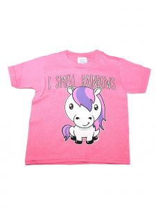 "Girls Pink Unicorn ""I Smell Rainbows"" Print Soft Cotton T-Shirt 6-16"