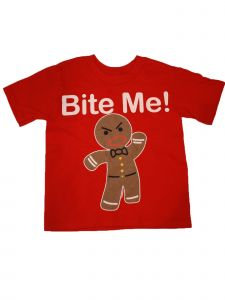 "Girls Red Gingerbread ""Bite Me"" Short Sleeve Cotton Trendy T-Shirt 6-16"
