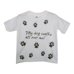 "Unisex White ""My Dog Walks All Over Me"" Print Short Sleeve Cotton T-Shirt 6-16"