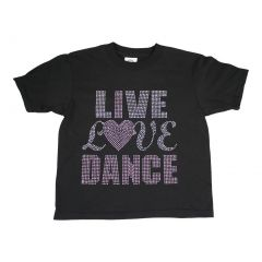 "Girls Black ""Live Love Dance"" Detail Cotton Short Sleeve T-Shirt 6-16"