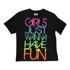 "Little Girls Black Multi Color ""Girls Just Wanna Have Fun"" Print T-Shirt 5T"