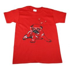 Big Kids Unisex Red Pug With Hearts Print Short Sleeve T-Shirt 6-16