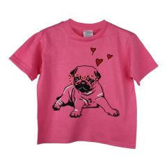 Little Girls Pink Dog Pub Heart Graphic Print Short Sleeve Cotton T-Shirt 2-5T