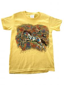 Girls Yellow Kokopelli And Horse Print Short Sleeve Cotton T-Shirt 6-16