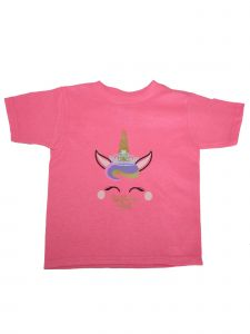 "Girls Pink Unicorn ""Birthday Girl"" Print Short Sleeve Cotton T-Shirt 6-16"