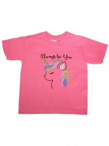 "Girls Pink Unicorn ""Always Be You"" Print Short Sleeve Cotton T-Shirt 6-16"