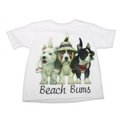 Little Kids Unisex White Beach Bum Dogs Print Short Sleeve T-Shirt 2T-5