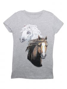 Unisex Little Girls Grey Two Horses Print Cotton Short Sleeve T-Shirt 2T-5