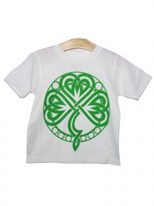 Unisex Kids White Green Stylized Shamrock Print Short Sleeve T-Shirt 6-16