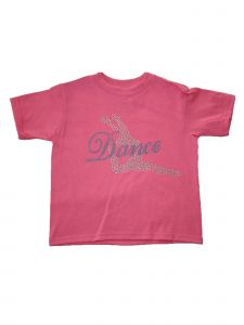 "Girls Pink Blue Rhinestone ""Dance"" Applique Short Sleeve Cotton T-Shirt 6-16"