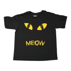 Unisex Black Meow Cat Eyes Print Short Sleeve Cotton Trendy T-Shirt 6-16