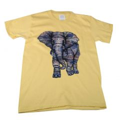 Big Kids Unisex Yellow Elephant Print Short Sleeve T-Shirt 6-16