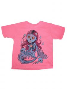 Girls Pink Mermaid Skull Print Short Sleeve Soft Cotton T-Shirt 6-16