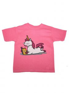 Girls Pink Unicorn Bookworm Print Short Sleeve Cotton T-Shirt 6-16