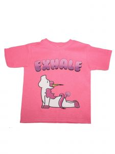 "Unisex Kids Pink Unicorn ""Exhale"" Print Short Sleeve Cotton T-Shirt 6-16"