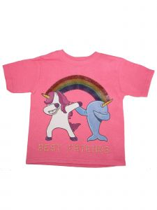 Girls Pink Unicorn Narwhal Best Friends Print Cotton Short Sleeve T-Shirt 6-16